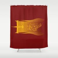 cowboy bebop Shower Curtains featuring Space Horse (Spikes Horse)Bebop)Cowboy)Swordfish) by Geekleetist