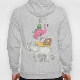 A Stack Of Animals with elephant, lion, flamingo, monkeys and snake Hoody