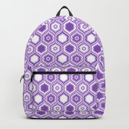 Mid Century Modern Double Quatrefoil - Lavender Purple and White Backpack