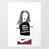 fries Art Prints featuring Fries by Jasmine Illustration