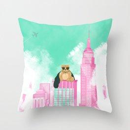 Teddy Bear in New York Throw Pillow