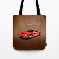 lamborghini Tote Bags featuring Lamborghini Miura by Mark Rogan