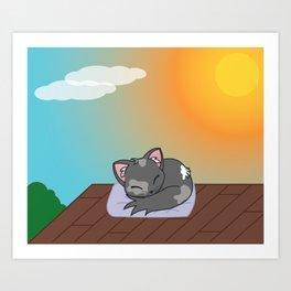 Cat on a roof Art Print