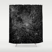 north carolina Shower Curtains featuring raleigh map north carolina by Line Line Lines