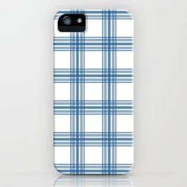Farmhouse Plaid in Blue on White iPhone Case