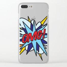 Comic Book Pop Art OMG Clear iPhone Case