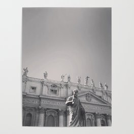 St. Peter's Basilica, Vatican City, Rome, architecture photography, black & white, Baroque Poster