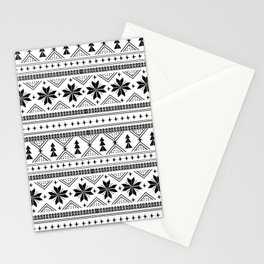 Fair Isle christmas pattern snowflakes camping winter trees christmas tree minimal black and white Stationery Cards