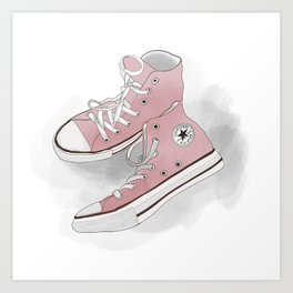 pink all-star converse sneakers Art Print