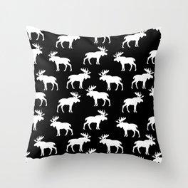 Moose Trot // Black Throw Pillow