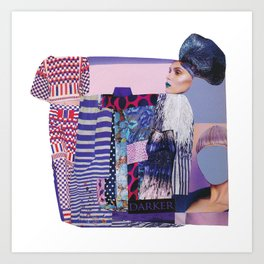purple modern collage with pink and red Art Print