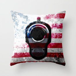 M1911 Colt 45 and American Flag on Distressed Metal Throw Pillow