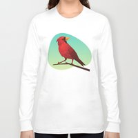 low poly Long Sleeve T-shirts featuring Low-poly Red Bird by fortyfive