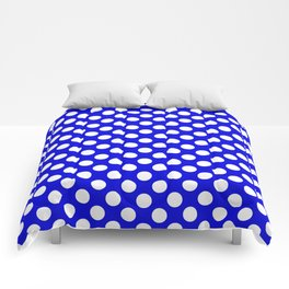 Royal Blue With Large White Polka Dots Comforters