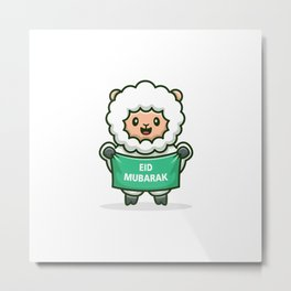Cute Sheep Holding Banner Eid Mubarak Cartoon Metal Print