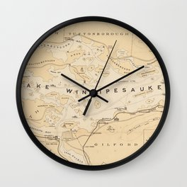 Vintage Map of Lake Winnipesaukee (1896) Wall Clock