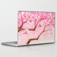 cherry blossoms Laptop & iPad Skins featuring Cherry Blossoms by Dana Martin