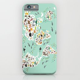 Cartoon animal world map for children and kids, back to school. Animals from all over the world iPhone Case
