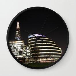 City Hall and The Shard skyscraper at night, London, England  Wall Clock