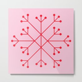 Mod Snowflake Pink & Red Metal Print