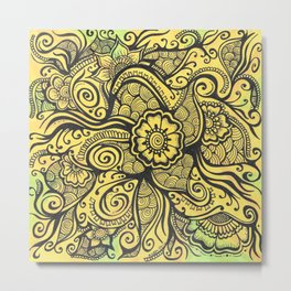 Henna Art Zendoodle Artwork Floral on Orange and Green Metal Print