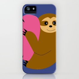 Sloth in love blue iPhone Case