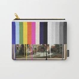 Garage Sale Painting of Peasants with Color Bars Carry-All Pouch