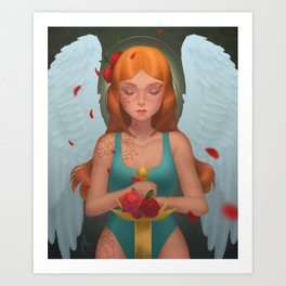 Praying Angel with a Golden Sword and Red Roses Art Print