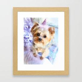 Yorkie Happy Birthday Framed Art Print