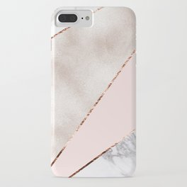Spliced mixed rose gold marble iPhone Case