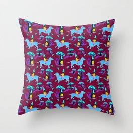 Gnome & Dachshund in Mushroom Land, Teal Background Throw Pillow