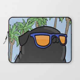Black pug in California Laptop Sleeve