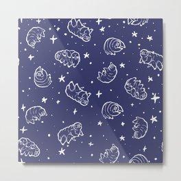 Tardigrades in Space Blue Metal Print