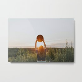 Girl With A Hat At Sunset Metal Print