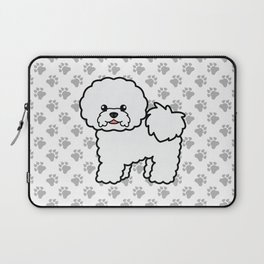 Cute White Bichon Frise Dog Cartoon Illustration Laptop Sleeve