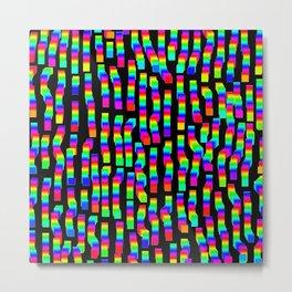 Pixel rainbow black Metal Print