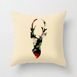 Flower Deer Silhouette Throw Pillow