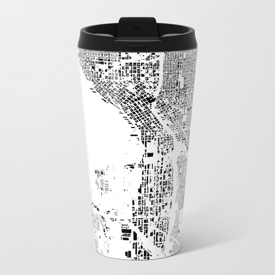 Seattle Map Schwarzplan Only Buildings Metal Travel Mug