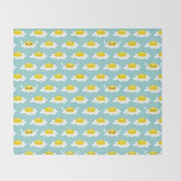 Sunny Side Up! / Print / Blue Throw Blanket
