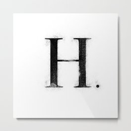 H . - Distressed Initial Metal Print