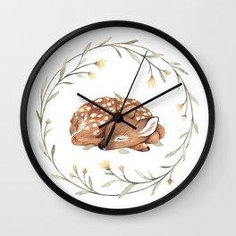 Wildflower Fawn Wall Clock