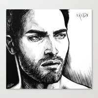 derek hale Canvas Prints featuring Derek Hale Greyscale by xKxDx