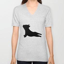 French Bulldog. Puppy Silhouette. Yoga Puppy Unisex V-Neck