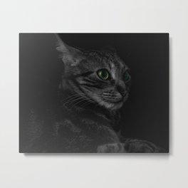 Green Eye Cat Portrait Metal Print