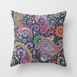 Oriental Persian Paisley - Green Pink Blue Yellow Throw Pillow