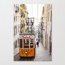 Lisbon summer day and vintage tram urban city street photography Canvas Print