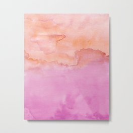 Watercolor Pink Orange Duo Metal Print