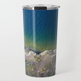 ocean rock green blue Travel Mug
