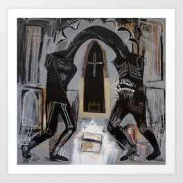 Conjoined mutants fighting over a box of chicken skin in the abandoned cathedral. 2010. Art Print