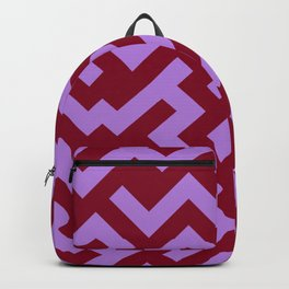 Lavender Violet and Burgundy Red Diagonal Labyrinth Backpack